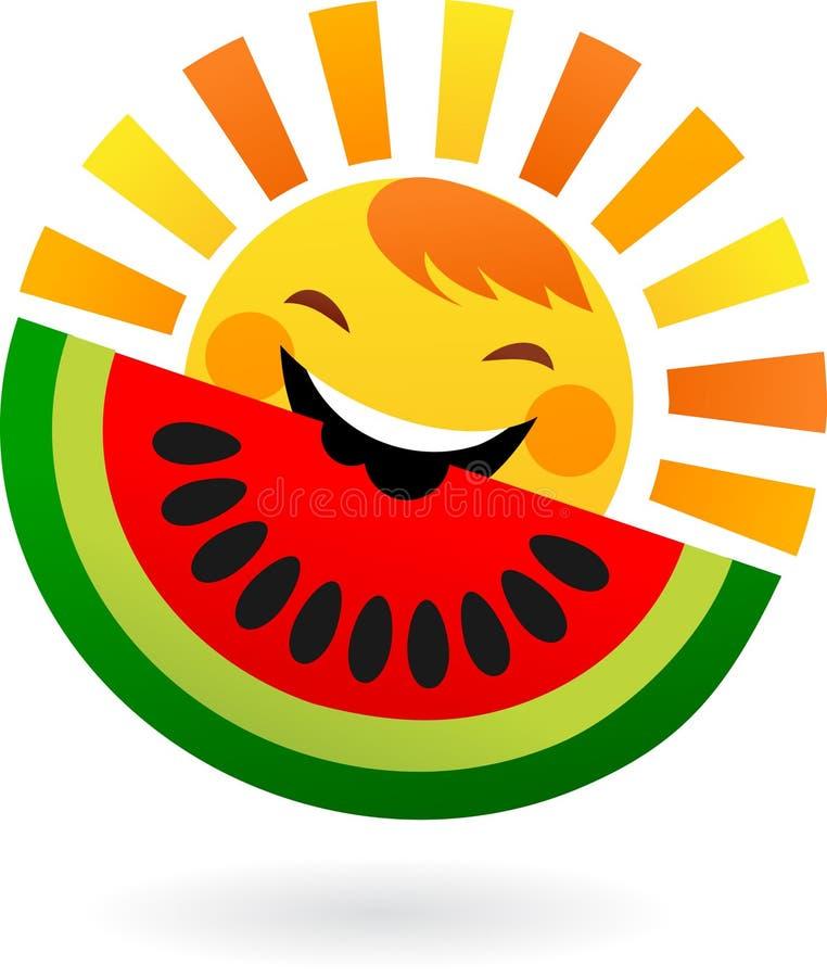 Sol feliz que come a fatia de melancia ilustração royalty free