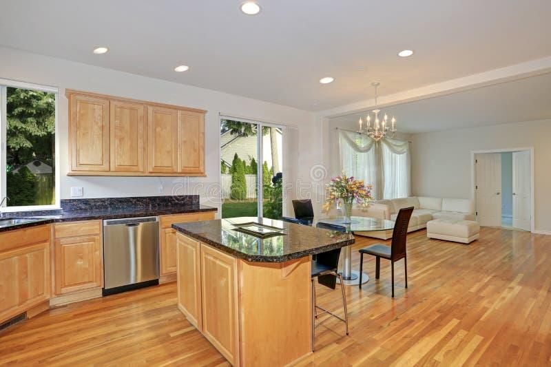 Sol fyllt gourmet- kök med träcabinetry royaltyfria bilder