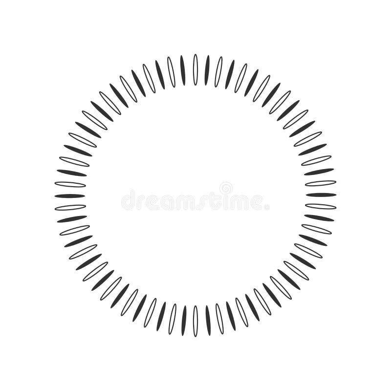 Sol geométrico com raios no elemento do círculo feito de irradiar formas Forma abstrata do círculo Ilustração do vetor isolada no ilustração royalty free