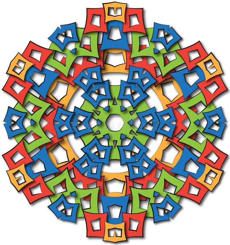 Sol grande de la mandala azteca stock de ilustración