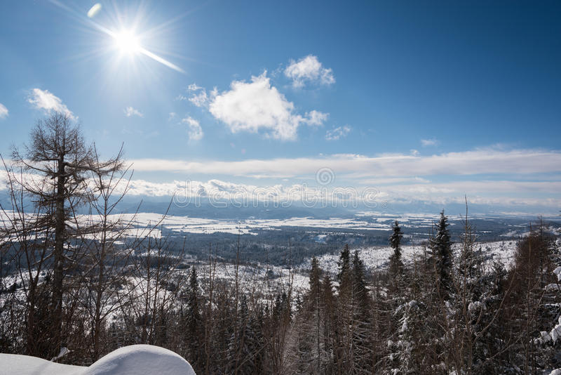 Sol hermoso que brilla sobre el valle cubierto en nieve foto de archivo