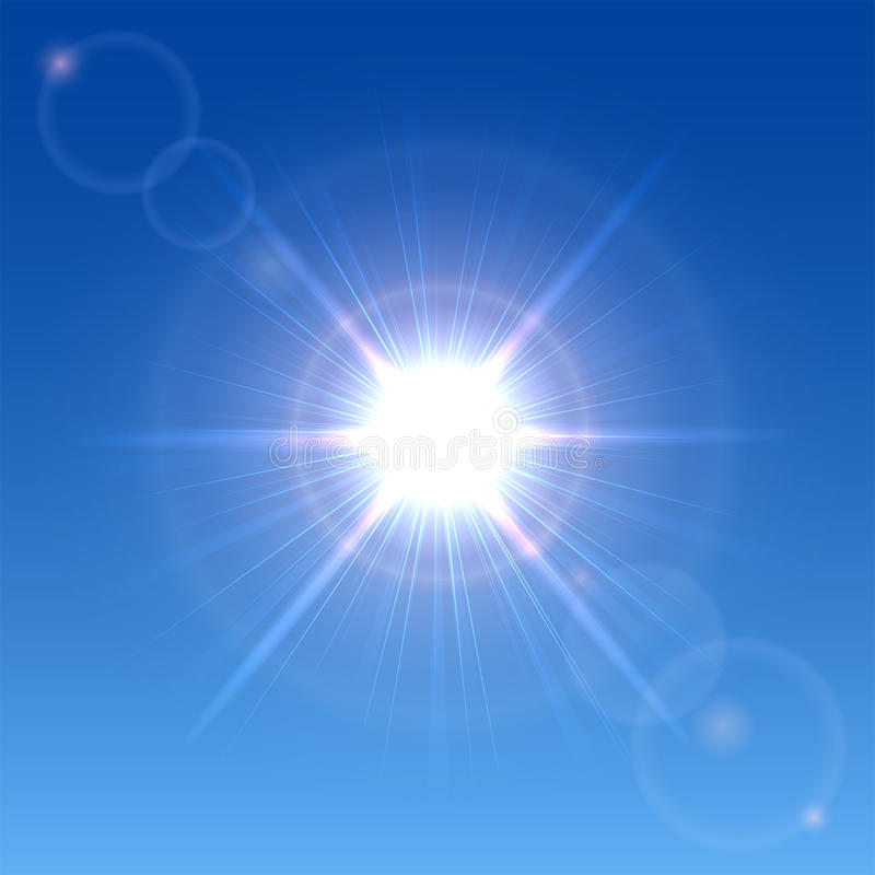 Sol i himlen royaltyfri illustrationer