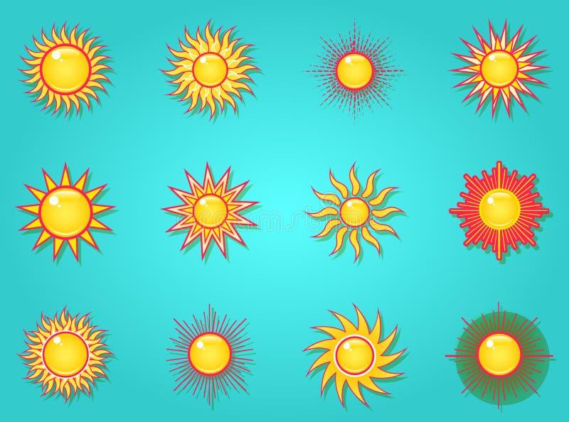Sol i himmelsymbolsuppsättningen vektor illustrationer