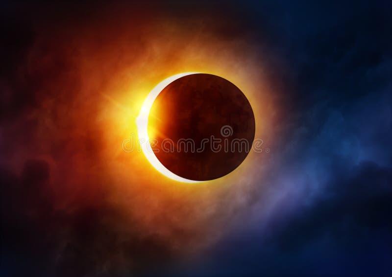 sol- illustration för förmörkelse för bakgrundsblackdesign arkivbild