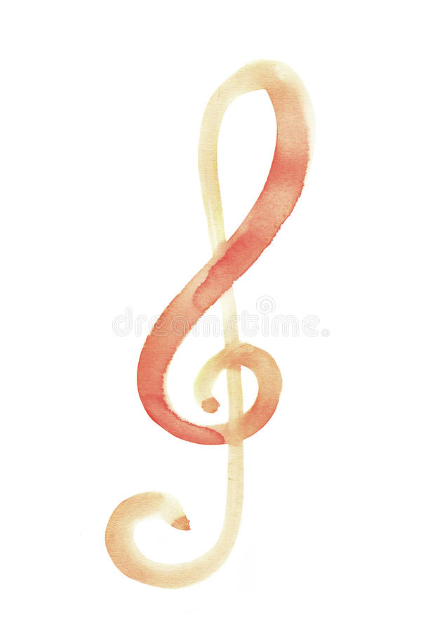 Sol key music symbol notation with watercolour