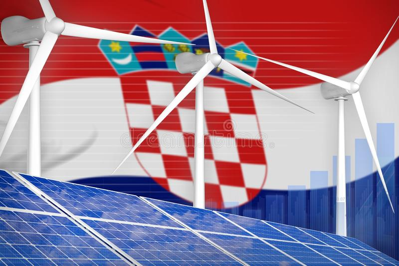 Sol- Kroatien och begrepp för graf för vindenergi digitalt - modern industriell illustration för naturlig energi illustration 3d stock illustrationer