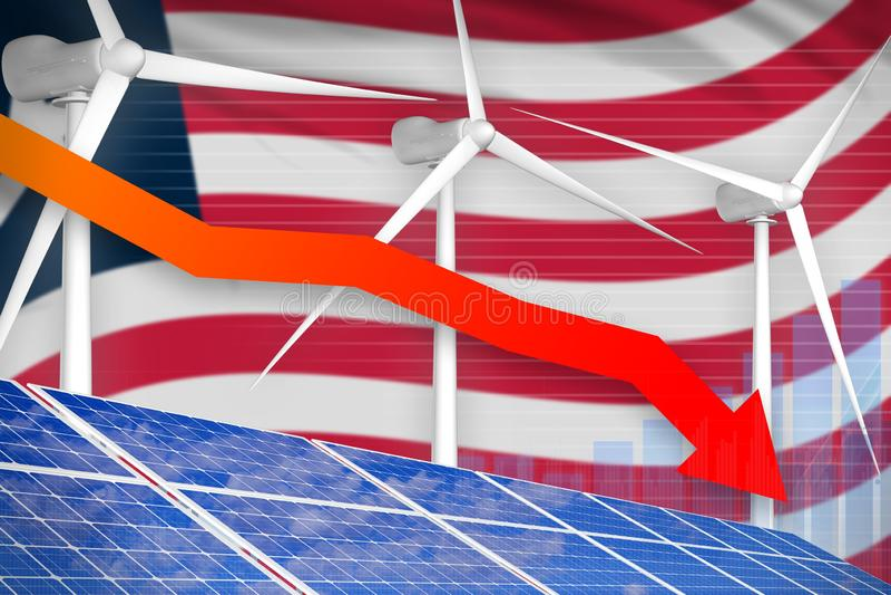 Sol- Liberia och vindenergi som fäller ned diagrammet, pil ner - alternativ industriell illustration för naturlig energi illustra royaltyfri illustrationer