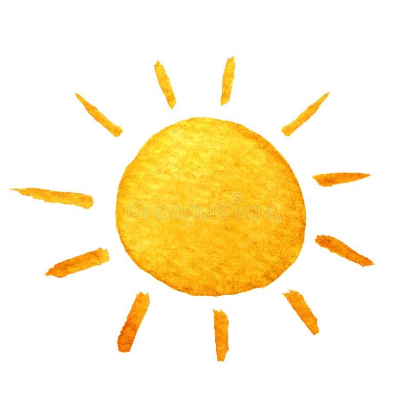 Sol linda de la historieta Sol sonriente dibujado mano del ejemplo de la acuarela ilustración del vector