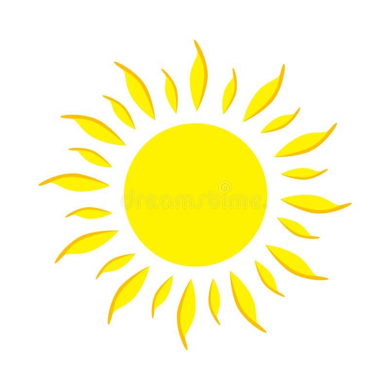 Sol liso do amarelo do ícone ilustração do vetor