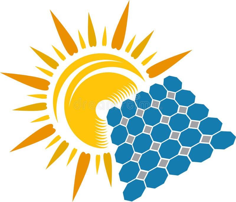 Sol- logo royaltyfri illustrationer