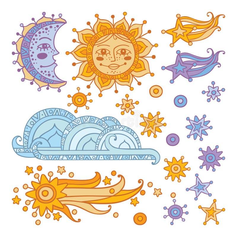 Sol, måne, moln, stjärnor och en komet som isoleras på vit bakgrund royaltyfria foton