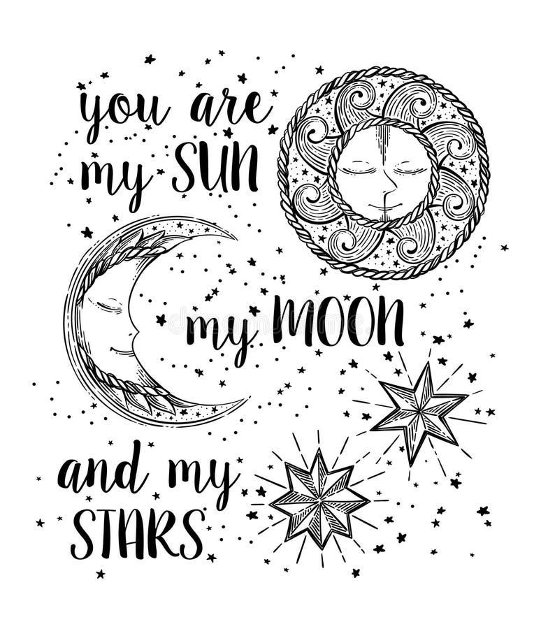 Sol, måne och stjärnor royaltyfri illustrationer