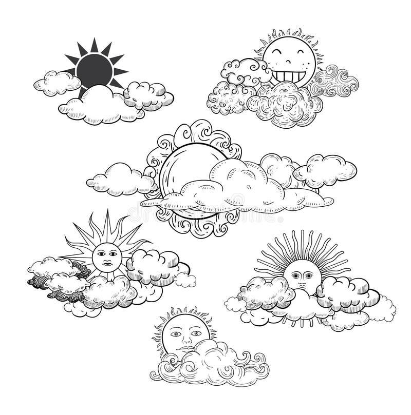 Sol med drog samlingen för molnklotter den hand vektor illustrationer