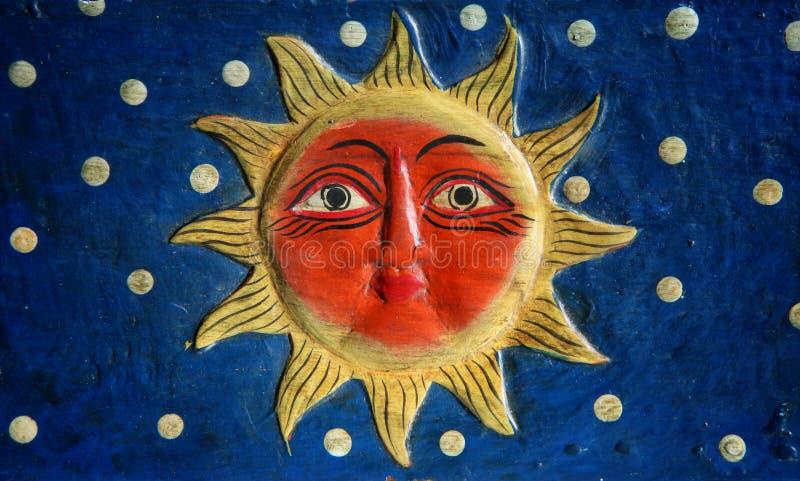 Sol med framsidan royaltyfri illustrationer