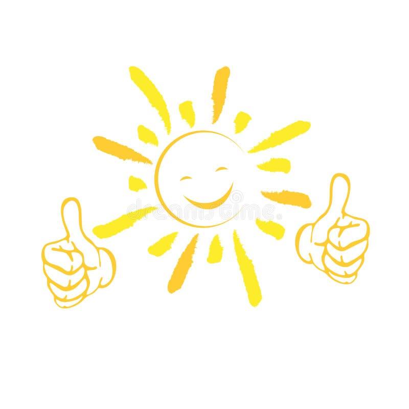 Sol med leende och händer, sommar och sollogo royaltyfri illustrationer