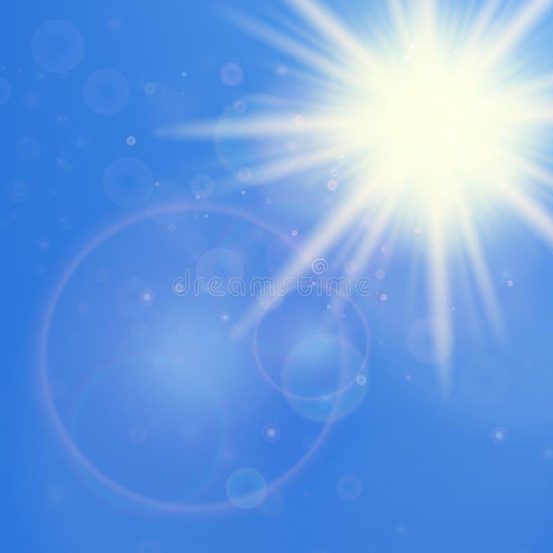 Sol med linssignalljusmallen stock illustrationer