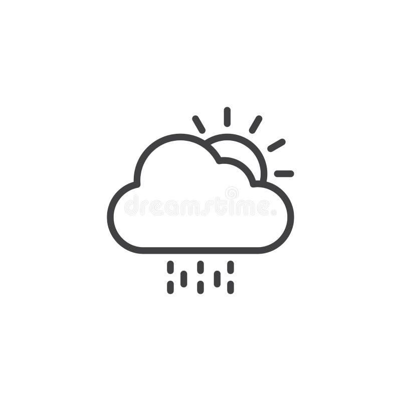 Sol med moln- och regnöversiktssymbolen stock illustrationer