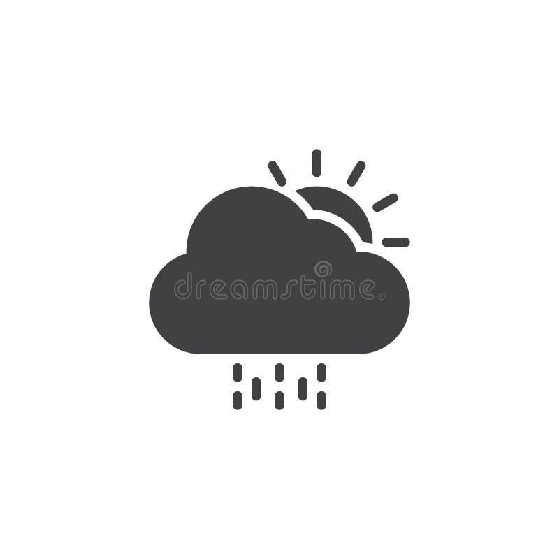 Sol med moln- och regnvektorsymbolen vektor illustrationer