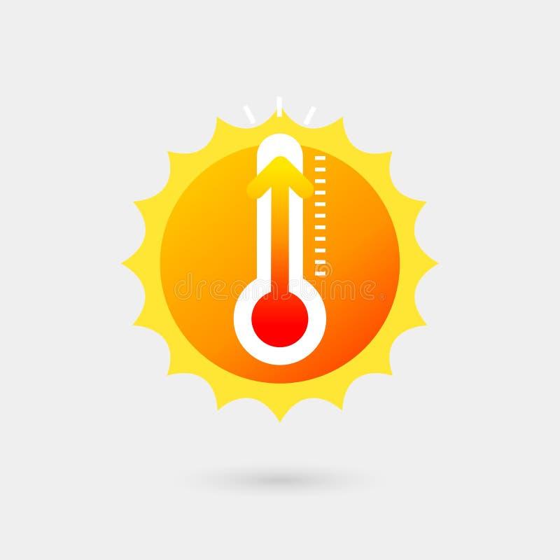 Sol med termometern stock illustrationer