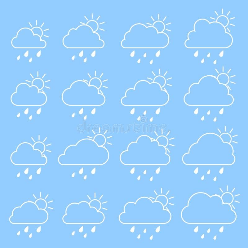 Sol moln med regndroppar på en blå bakgrund royaltyfri illustrationer