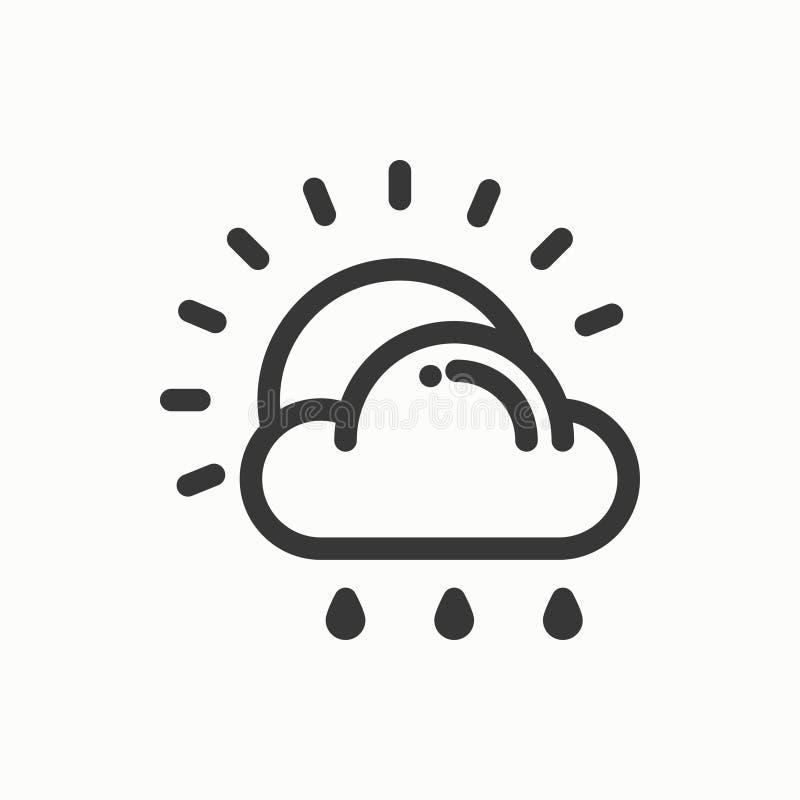 Sol moln, regnlinje enkel symbol Vädersymboler meteorology Prognosdesignbeståndsdel Mall för mobilen app, rengöringsduk vektor illustrationer