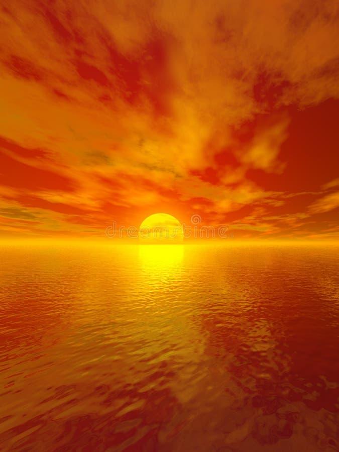 Sol muy anaranjado ilustración del vector