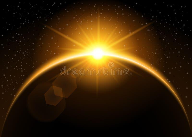 Sol naciente detrás del planeta ilustración del vector
