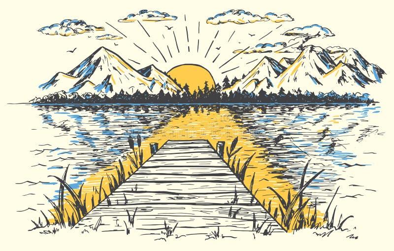 Sol naciente en el ejemplo del paisaje del lago stock de ilustración