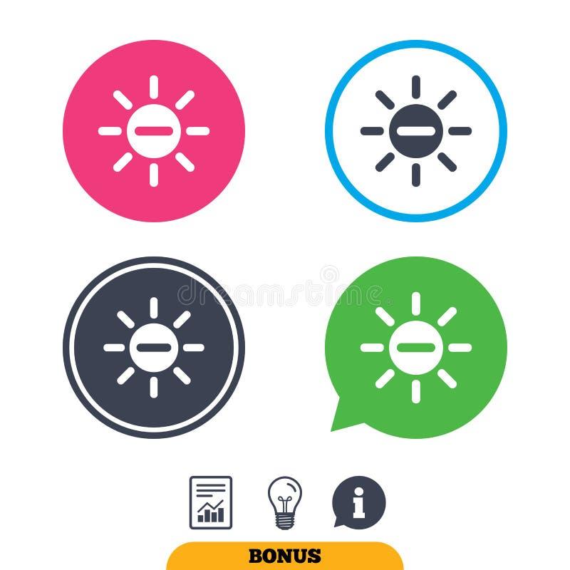 Sol negativ teckensymbol Runda metalliska knappar brina stock illustrationer