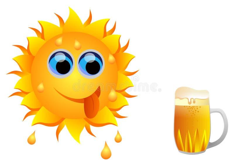 Sol och öl stock illustrationer