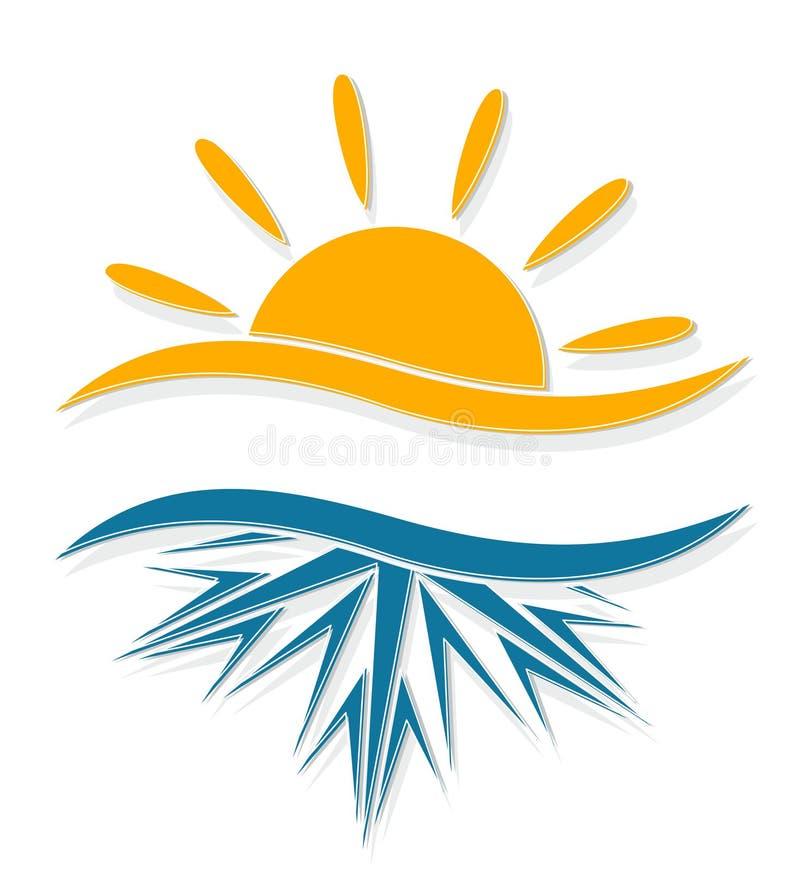 Sol och frost vektor illustrationer