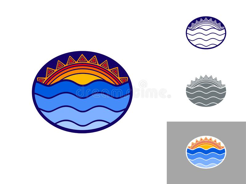 Sol och hav, färglogoemblem i den etniska dekorativa stilen stock illustrationer
