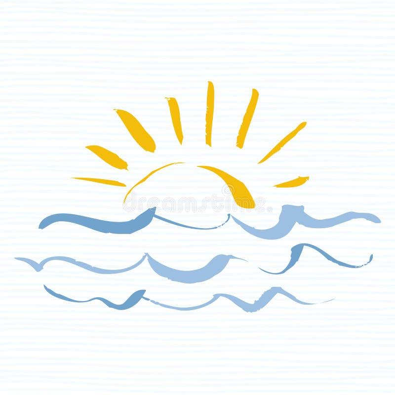 Sol- och havslogosymbol Handgjord grungesymbol som isoleras på vit bakgrund över havssoluppgång Redigerbar vektor royaltyfri illustrationer