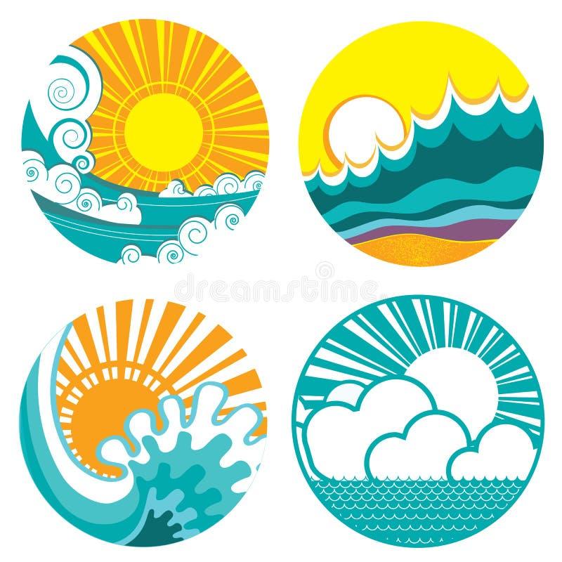 Sol- och havsvågor. Vektorsymboler av illustrationnollan stock illustrationer