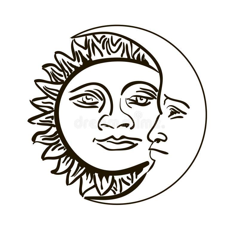 Sol och månademblem som isoleras över vit vektor illustrationer