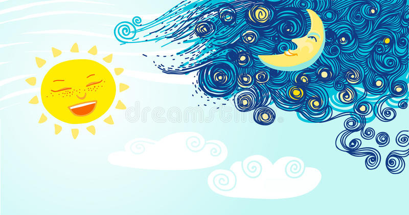 Sol och måne. Dygnet runt. stock illustrationer