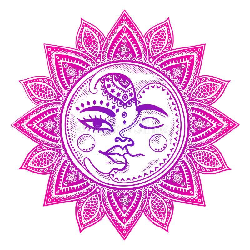 Sol- och månetappningillustration stock illustrationer
