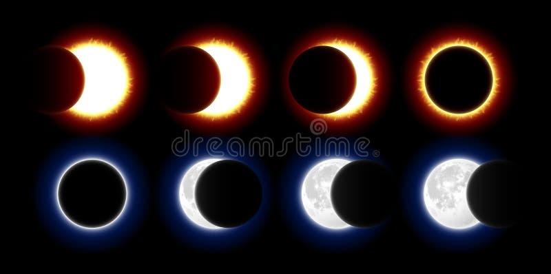 Sol- och månförmörkelser royaltyfri illustrationer