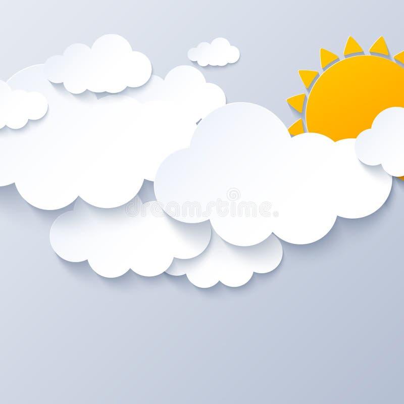 Sol och moln på grå himmelbakgrund stock illustrationer