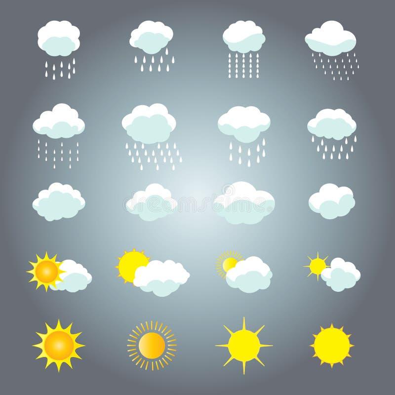 Sol- och molnuppsättning stock illustrationer