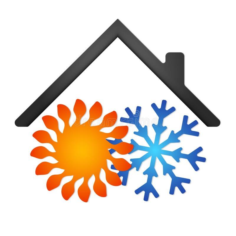 Sol- och snöflingaluft som betingar för hem royaltyfri illustrationer