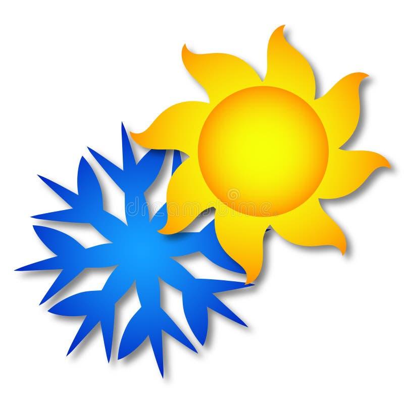 Sol- och snöflingasymbol stock illustrationer