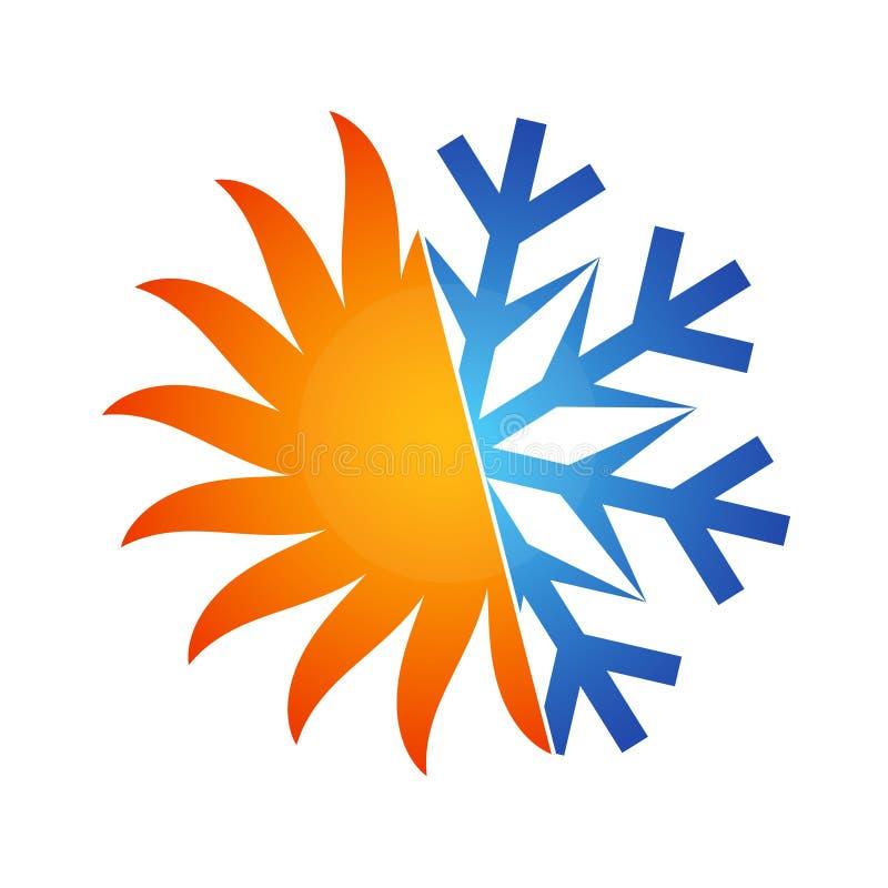 Sol- och snöflingasymbol royaltyfri illustrationer