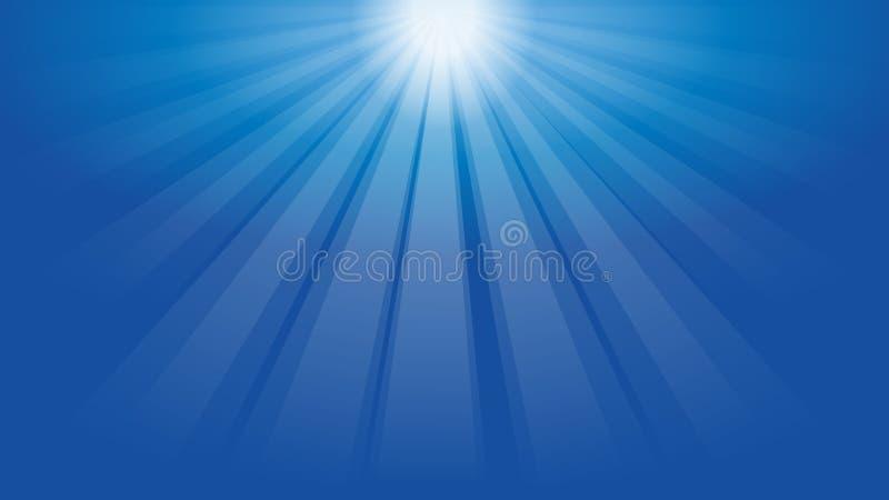 Sol och strålar av ljus-, solsken- och solbakgrund stock illustrationer