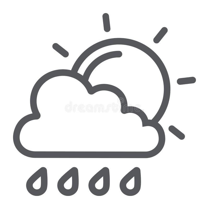 Sol och tecken för regnlinje symbol, väder- och prognos-, moln- och sol, vektordiagram, en linjär modell på ett vitt royaltyfri illustrationer