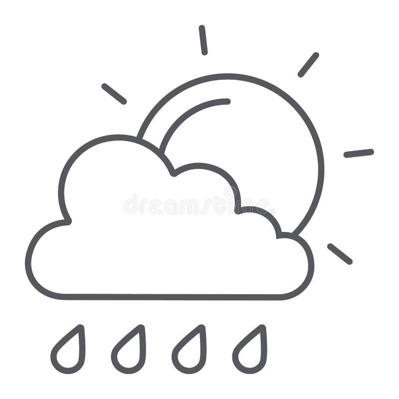 Sol och tunt tecken för regn för linje symbol, väder- och prognos-, moln- och sol, vektordiagram, en linjär modell på ett vitt stock illustrationer