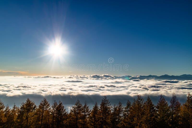 Sol ovanför ett hav av moln royaltyfria bilder