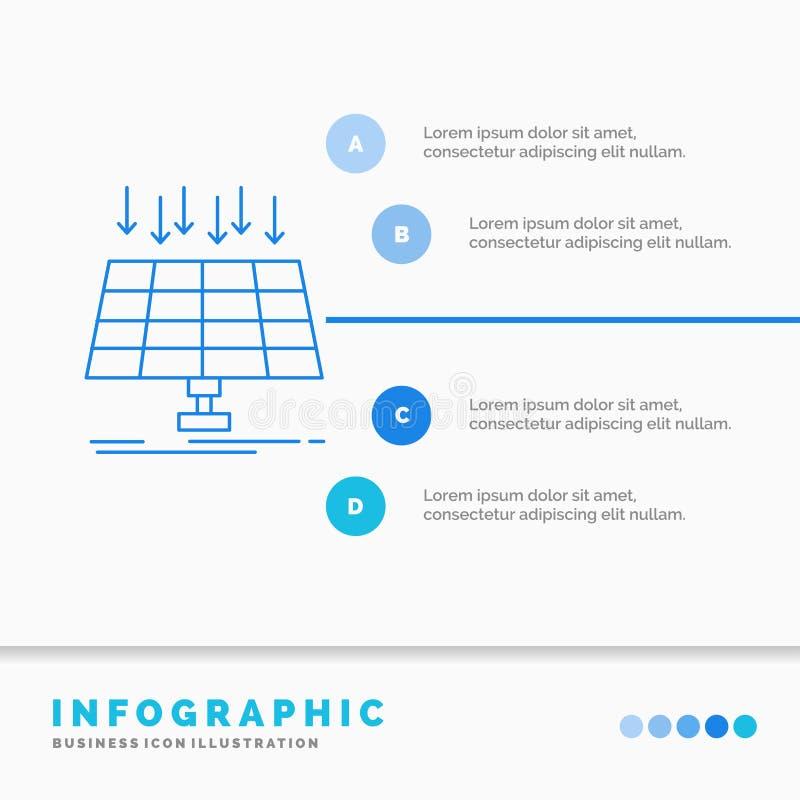 Sol-, panel, energi, teknologi, smart stadsInfographics mall f?r Website och presentation Linje infographic stil f?r bl? symbol royaltyfri illustrationer