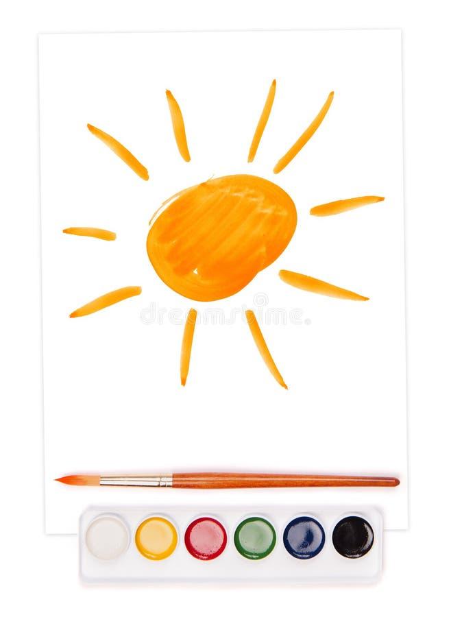 Sol pintado, grupo da aguarela imagens de stock