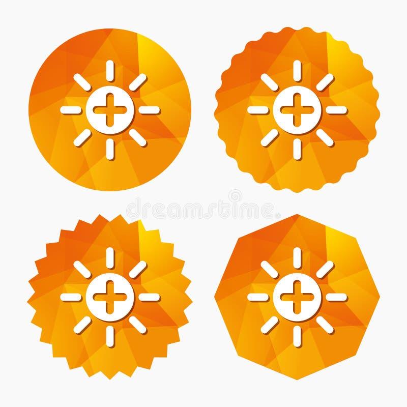 Sol plus teckensymbol Runda metalliska knappar brina stock illustrationer
